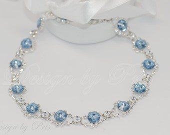HPH2.DB - Bridal Rhinestone and Swarovski Rhinestone Crystals in Denim Blue or Sapphire Headbands - Bridal.Hairpiece.Accessories