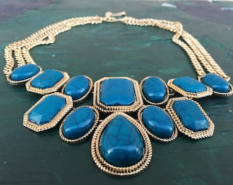 Emerald turquoise gem stone gold triple chain necklace