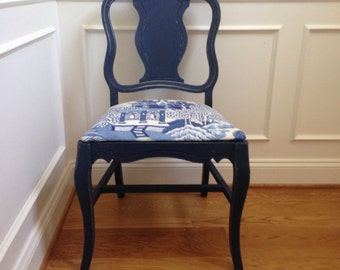 Up Cycled Vintage  Navy Blue chair with Blue and White Chinoiserie Fabric