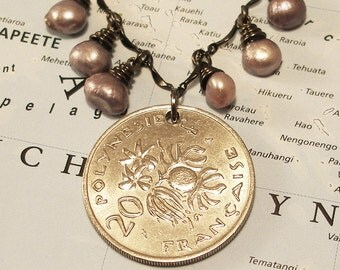 French Polynesia, Vintage Coin Necklace -- Tropical Fruits -- Tropical Islands - Recycled Jewelry - One of a Kind