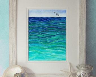 "Humpback Whale Splash painting print 8"" x 10"" WHALE ART PRINT - watercolor whale painting, humpback whale print, watercolour, beach decor"