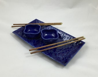 Sushi for Two Cobalt Blue Floral Handmade Pottery by Daisy Friesen