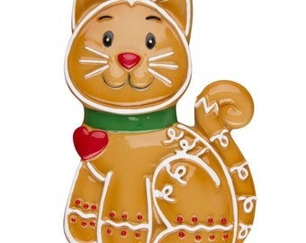 Personalized Gingerbread Cat Christmas Ornaments-Pet Cat, Kitty , Cat Lover- Personalized with the name and the year