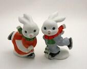 Homco Ice Skating Bunny Rabbits - Boy and Girl Bunnies - 5305