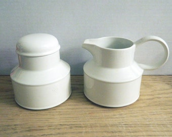 Midwinter Stonehenge White Creamer and Lidded Sugar Bowl Set - Made In England