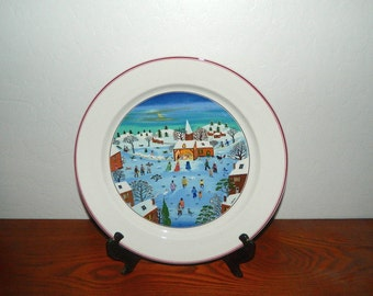 "Naif Christmas by Villeroy & Boch - 12"" Chop Plate - Round Platter - Artist Gerard Laplau"
