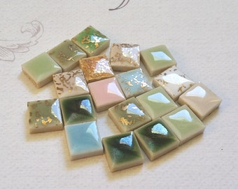 """MINIATURE CERAMIC TILES, Lot of 19, 7/16"""" Square, Vintage Dollhouse, Altered Art Supply"""
