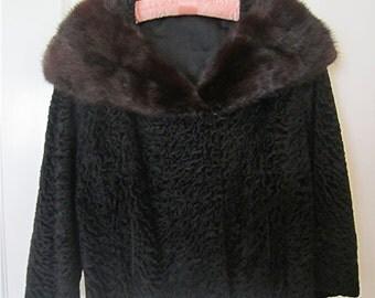 Vintage Black Persian Lamb Jacket with Mink Collar