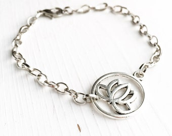Lotus Bracelet / Pick your Length / Boho Bohemian Gypsy Flower Lover Yoga Teacher Retreat Wedding Bridesmaids Bridal Party Favors Silver