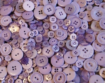 50 Lavender Buttons,  ASSORTED Size Mix Crafting Jewelry Collect (1399)