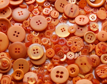 25 Pumpkin Orange, Burnt Orange Buttons, Assorted sizes, Sewing Buttons, Craft Buttons (1537)