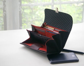 Cell phone wallet clutch - medium document wallet handmade case keys phone iphone 4 5 6 6s 7 case black orange polka dots cute READY TO SHIP