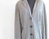 Vintage Houndstooth 1970s Duster Jacket Black white Hounds Tooth Plus Size 1X Xl Full Figured Long Sleeves Indie Light Cotton Blend