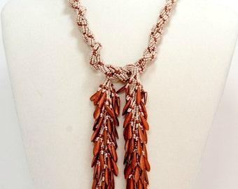 Copper Latte Cream Lariat Necklace Beadwoven Fringe