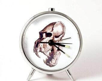 25% OFF ON SALE Alarm clock skull skeleton tongue mechanical alarm clock handmade
