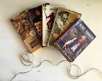 Pulp Western Book Set, Instant Collection, Cool Vintage Collection for Gifting or Display, Gunslinger, Outlaw, Cowboy and Ranching Stories