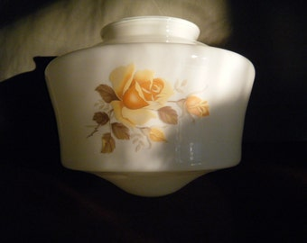 Vintage Glass Light Cover Shades with Pretty Yellow Rose Design, For Ceiling or Fan Light, Milk Glass, Replacement Glass Shades, 1940s House