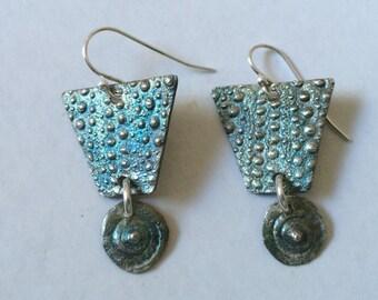sea urchin earrings, silver earrings, dangle earrings, shell earrings, surfer gift, kinetic earrings, beach earrings, summer earrings