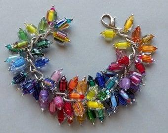 Graduated Rainbow Furnace Glass, Cane Glass, Art Glass, Crystal, Dangle Charm Bracelet