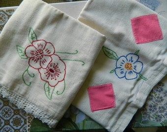 2 Sweet Embroidered Pillowcases - Heavy Muslin