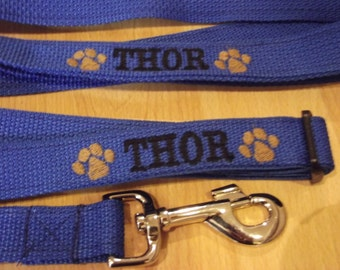 Personalized Dog Collar and Leash Set Custom Made Embroidered Collar and 6' Lead with name and phone number Great Christmas Gift for Dogs