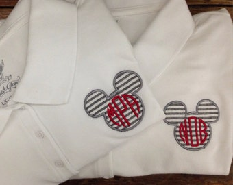 Ladies' or men's  Disney Polo Shirts / Mickey Mouse Appliqued Polo Shirt / available in women's and men's adult sizes