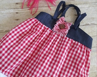 Ready to ship, Size 4-5,Katie Top,Brownie Goose,Gingham,Summer Top, Buffalo Plaid, Girls clothes