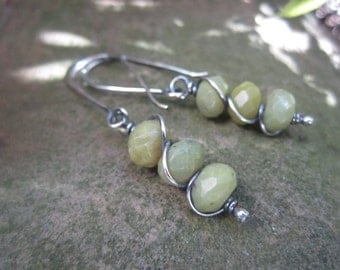 INVENTORY REDUCTION SALE  - Faceted Olive Jade Sterling Silver Earrings