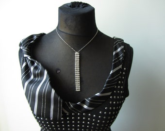 Black and Silver Studded Tank Top detailed with Repurposed Necktie, Rhinestone Necklace, Necktie Collar, Upcycled Black Studded Shirt, Goth