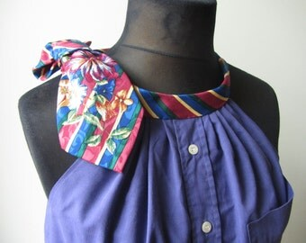 Purple Halter Top, Purple Tank Top, Tunic Length Tops, Sleeveless Button Up Blouse, Repurposed Neckties, Refashioned Mens Shirt for Women