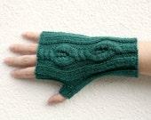 Cable Fingerless Gloves, Hand Knitted Long Gloves, Dark Green Womens Gloves, Winter Fashion, Mens Fingerless Gloves, Fall - Forest Green