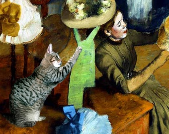 Edgar Degas Cat Art Print, Matted, Parody, Tabby, Millinery Shop, Whimsical Art, Cat Lover Gift, Deborah Julian