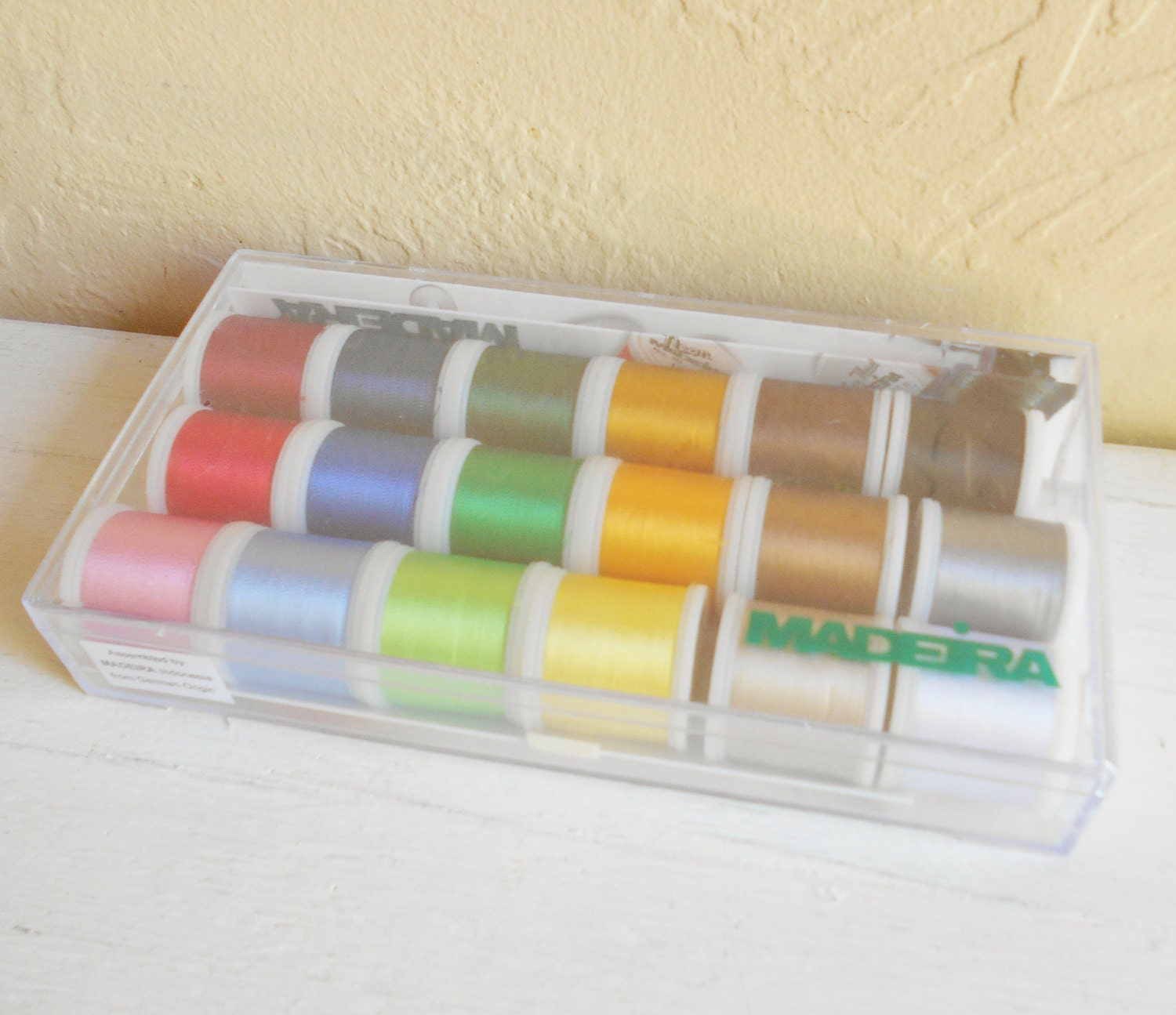 New unsealed box of 18 spools madeira rayon embroidery thread from new unsealed box of 18 spools madeira rayon embroidery thread nvjuhfo Image collections