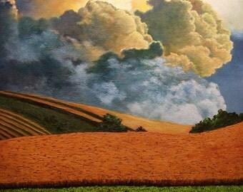 Thunderstorm, Clouds, Rain, Lightning, Field, Farm, Storm, Spring, nature, tree, Summer, Fall, Lightning, Original Landscape Oil Painting