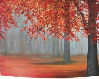 Autumn, Fall, Tree, Woods, Forest Landscape Oil Painting
