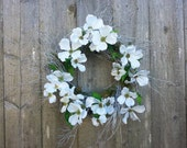 Dogwood blossoms on twig wreath