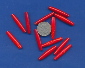 """12 Bone Pipe Beads, number 3634NB, Red and white designs, 1 1/2"""" long"""