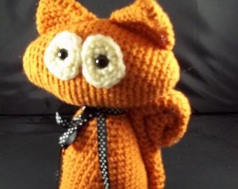Crocheted  Standing Cat -Rust