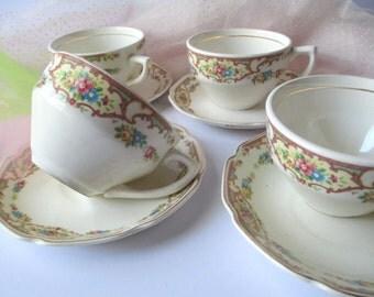 Floral Teacups and Saucers Set of Four - Vintage Charm