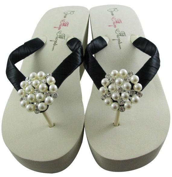 Pearl bling wedding flip flops/ bridal /Ivory Wedge/ bride Flip Flops, rhinestone White or choose color Platform Satin heel bridesmaids gift