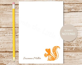 personalized notepad . squirrel notepad . filigree squirrel note pad . personalized stationery woodland stationary . acorn forest