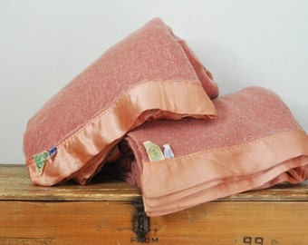 "Vintage Pair Faribo Virgin Wool Blankets Salmon Pink Twin Size Set of 100% Woolen Blanket 62"" by 78"""