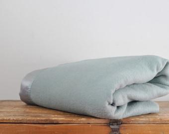 Vintage Sage Green Wool Golden Dawn Blanket JC Penney Virgin Wool