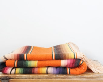 """Vintage Mexican Serape Blanket 45"""" by 83"""""""