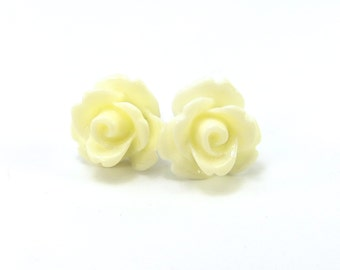 Cream Rose Stud Earrings- Surgical Steel- 10mmBlack Friday Sale 20% Off