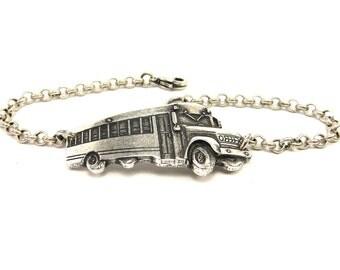 School Bus Bracelet- Sterling Silver Ox Finish- Bus Driver Bracelet- Teachers Bracelet
