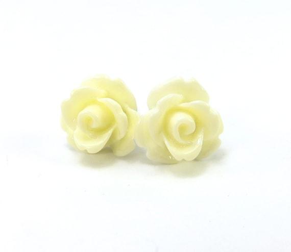 Cream Rose Stud Earrings- Surgical Steel- 10mm