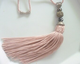Moroccan  tribal, bead tassel necklace, pale pink art silk, African beads, summer necklace