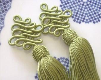 Olive art silk Moroccan decorative tassels, Moroccan decor, set of 2
