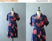 CLOSING SHOP 50% SALE / Vintage 1950s dress. 50s shirtwaist dress. floral print dress